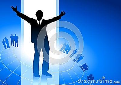 Excited businessman blue internet backgrou