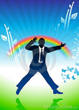 Excited businessman jumping on rainbow background
