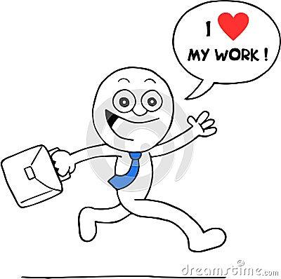 Excited Businessman Loves Work