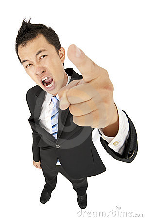 Excited businessman pointing you