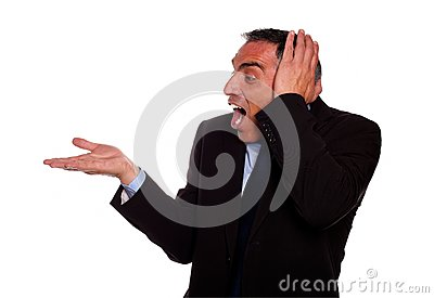 Excited businessman screaming with extended hand