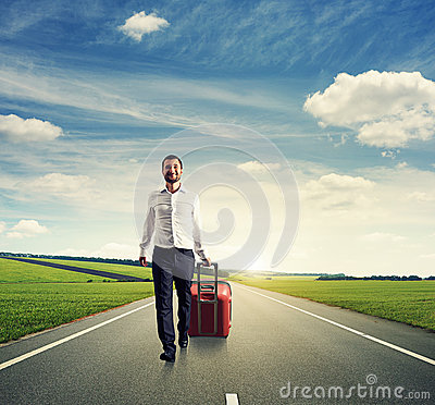 Excited businessman walking
