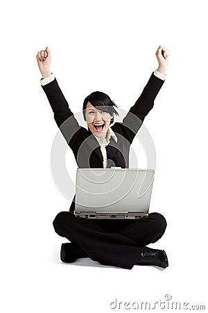 Excited businesswoman