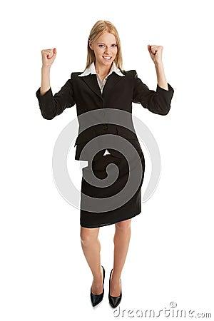 Excited businesswoman celebrating success
