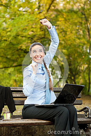 Excited businesswoman, concept - great news
