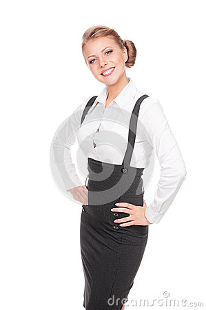 Excited businesswoman posing