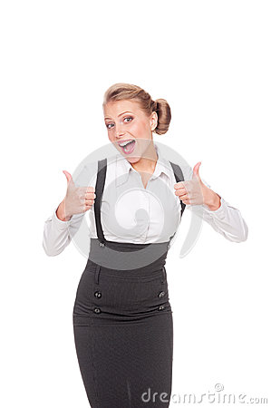 Excited businesswoman showing thumbs up