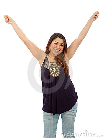 Excited casual woman