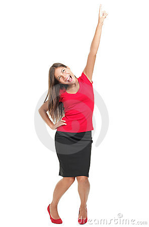 Excited cheerful woman isolated