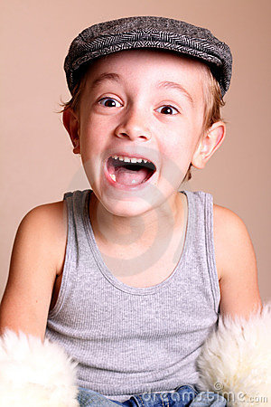 Excited Child wearing Flat Cap
