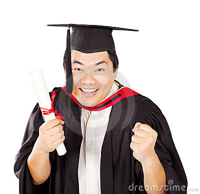 Excited chinese graduate