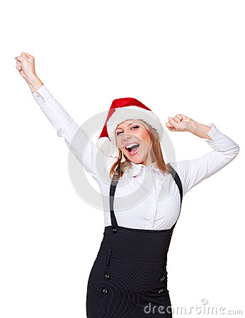Excited christmas businesswoman