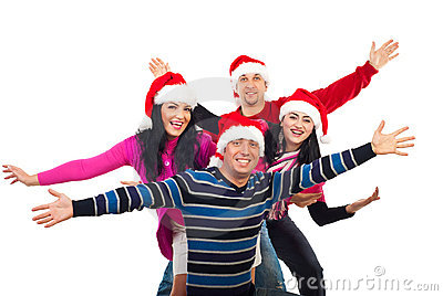Excited Christmas friends with hands up