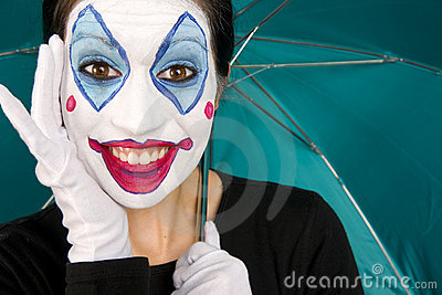Excited Female Circus Clown Gloves Umbrella TEal