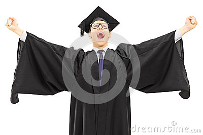 Excited college graduate throwing his hands in the air and gestu
