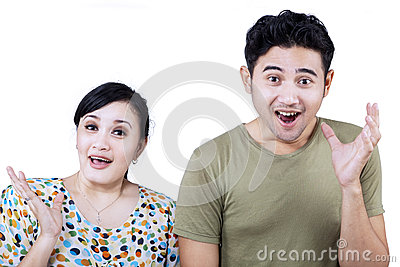 Excited couple expression on white