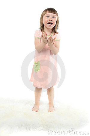 Excited cute baby with open mouth and hands