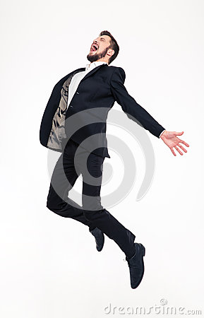 Free Excited Elated Happy Young Business Man Jumping And Shouting Stock Photography - 64062752