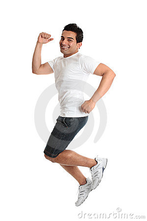 Excited energetic jumping man success