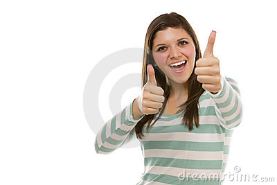 Excited Ethnic Female with Thumbs Up on White