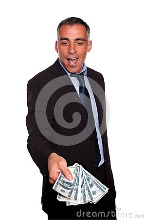 Free Excited Executive Holding And Showing Cash Money Stock Image - 25051171