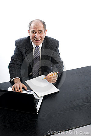 Excited executive in office