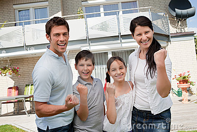 Excited family celebrating success