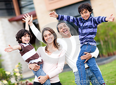 Excited Family Outdoors Royalty Free Stock Photography - Image: 25019447