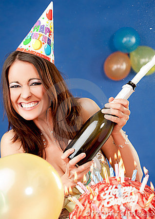 Excited female birthday champagne