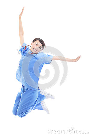Excited female doctor jumping high