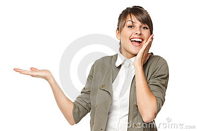 Excited female holding blank copy space on palm