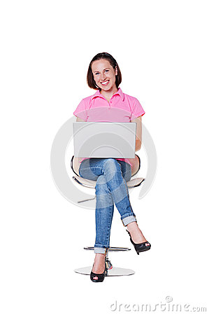 Excited female with laptop