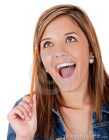 Excited female student