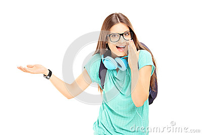 Excited female student gesturing