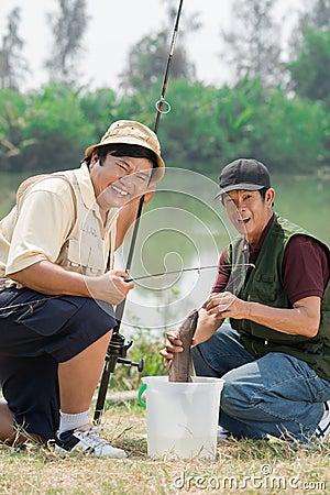 Free Excited Fishermen Stock Photos - 30174253