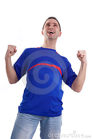 Excited football fan watching sport
