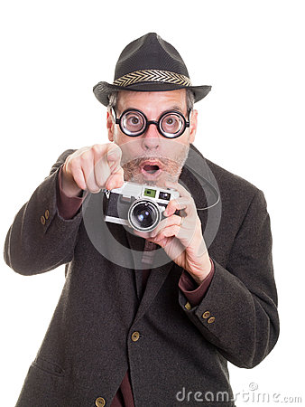 Excited Funny Man with Camera Pointing