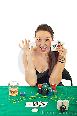 Excited gambler woman