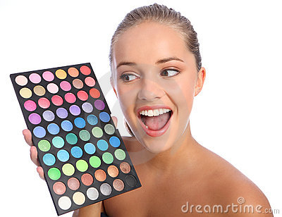 Excited girl cosmetics eyeshadow colour palette