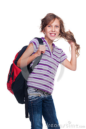 Excited girl holding rucksack