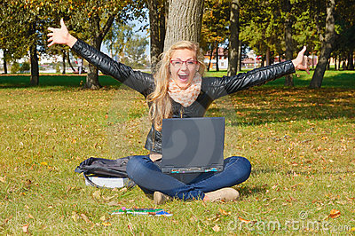 Excited girl in the park