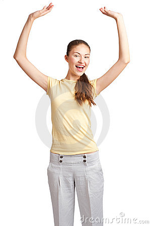 Excited girl with raised arms