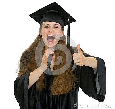 Excited graduation student speaking microphone