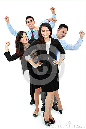 Excited group of business people