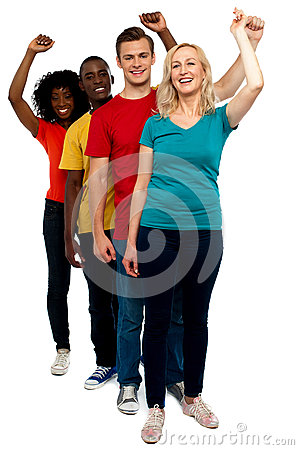 Excited Group Of Cheerful People, Full Length Shot Royalty Free Stock Images - Image: 25954539