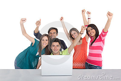 Excited group with a laptop