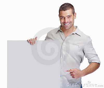 Excited guy holding a blank board