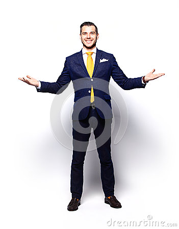 Free Excited Handsome Business Man With Arms Raised In Success Stock Photo - 59807260