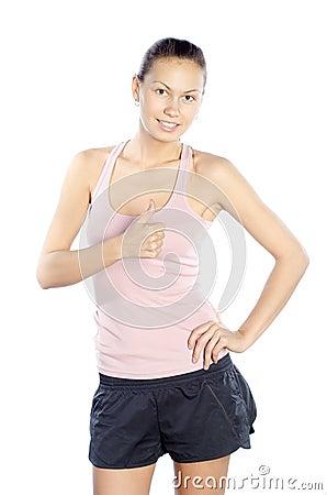 Excited happy caucasian fitness trainer