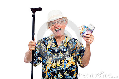 Excited happy elderly man